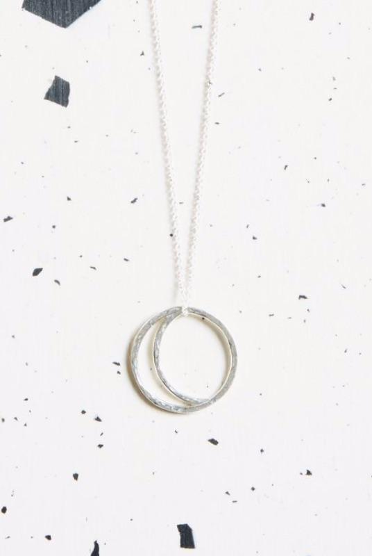 Silver Crescent Lune Pendant Necklace-KIND Jewellery-MAMOQ