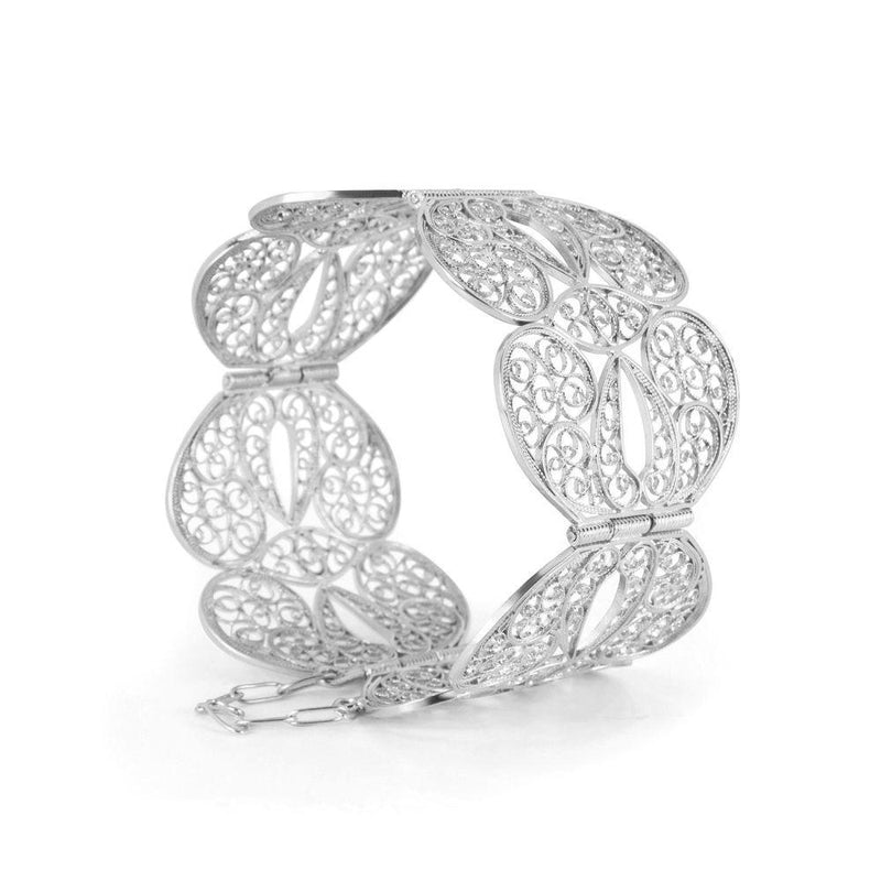 Silver Filigree Butterfly Heart Bangle-Arabel Lebrusan-MAMOQ