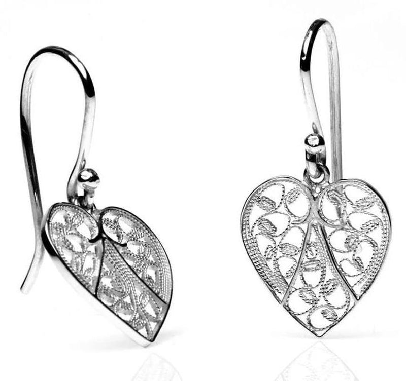 Silver Heart Filigree Earrings-Arabel Lebrusan-MAMOQ