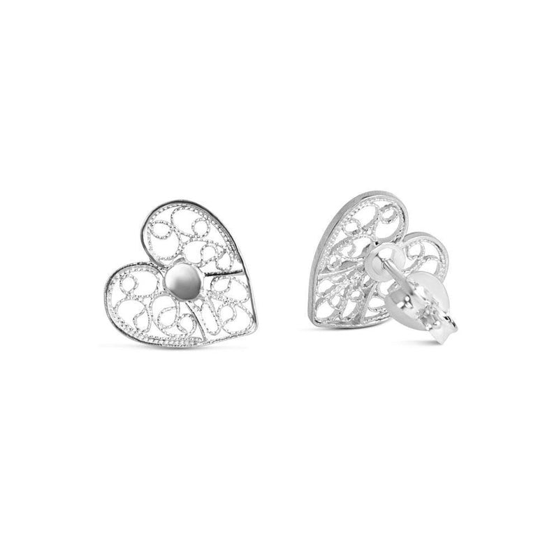 Silver Heart Stud Earrings-Arabel Lebrusan-MAMOQ