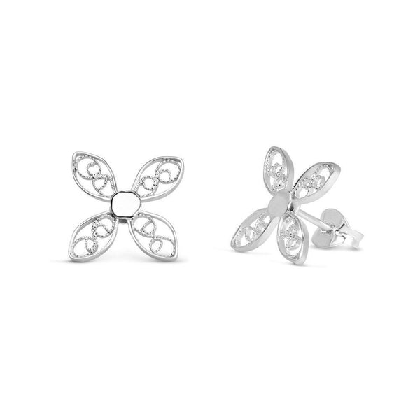 Silver Walnut Leaf Stud Earrings-Arabel Lebrusan-MAMOQ