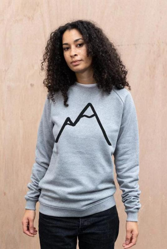 Simple Mountain Unisex Light Grey Organic Cotton Sweater-The Level Collective-MAMOQ