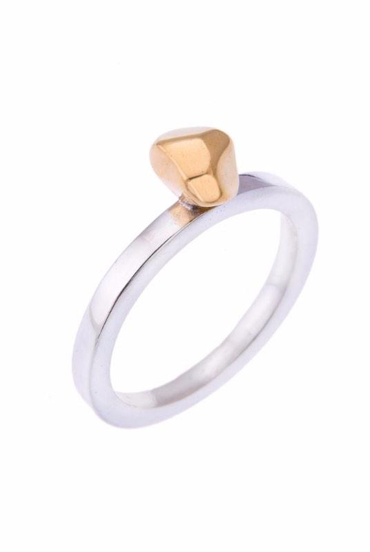 Small Silver and Gold Mani Ring-ANUKA Jewellery-MAMOQ