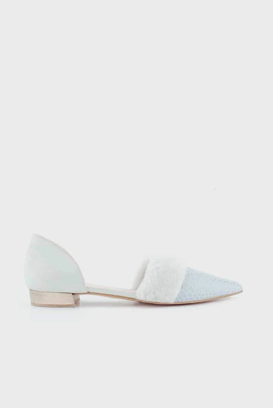 Snowball Blue Leather Ballerina Shoes-Shoes-Momoc Shoes-MAMOQ