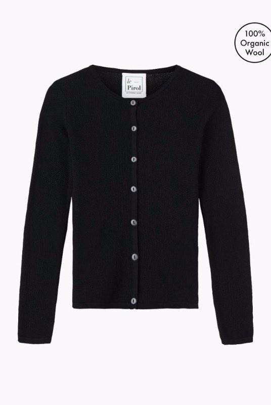 Soft Cloud Black Merino Wool Cardigan-Le Pirol-MAMOQ