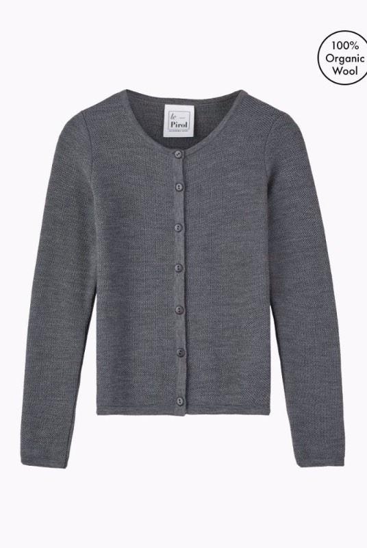 Soft Cloud Grey Merino Wool Cardigan-Le Pirol-MAMOQ