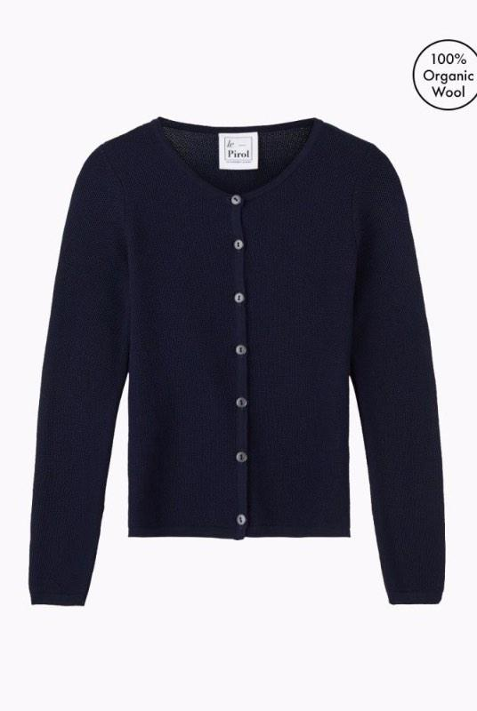 Soft Cloud Navy Merino Wool Cardigan-Le Pirol-MAMOQ