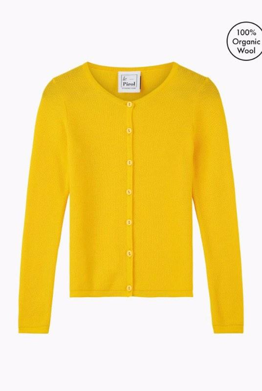 Soft Cloud Yellow Merino Wool Cardigan-Le Pirol-MAMOQ