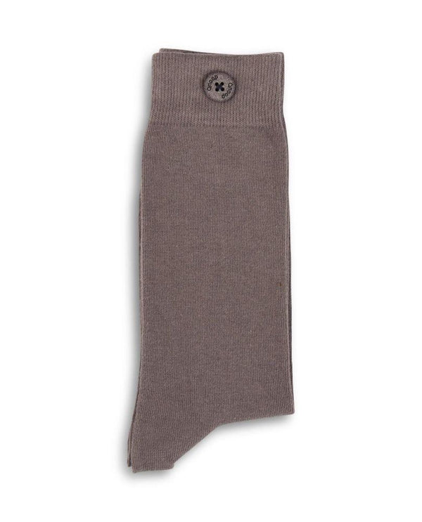 Solid Taupe Organic Cotton Socks-Qnoop-MAMOQ