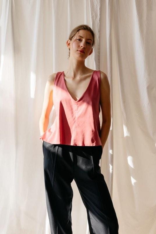 Something New Pink Organic Cotton V-Neck Top-ADVA-MAMOQ