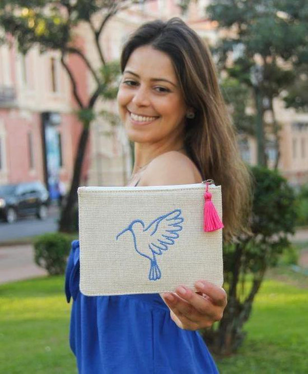Sonia Cream and Blue Up-cycled Small Pouch-Belo-MAMOQ
