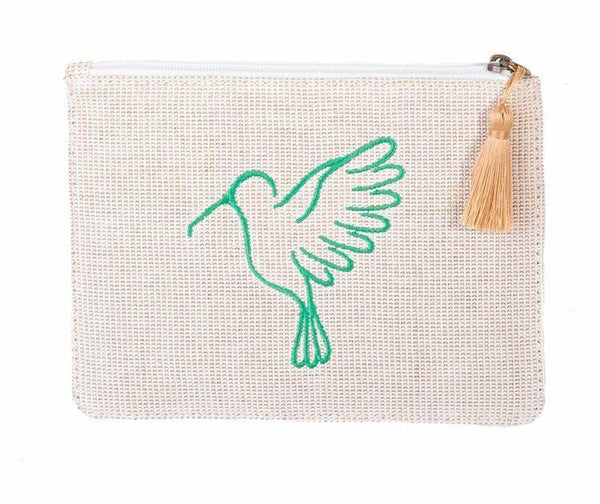 Sonia Cream and Green Up-cycled Small Pouch-Belo-MAMOQ