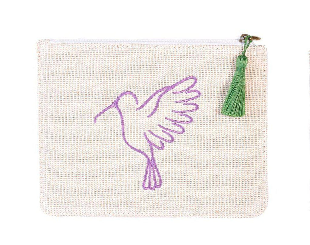 Sonia Cream and Purple Up-cycled Small Pouch-Belo-MAMOQ