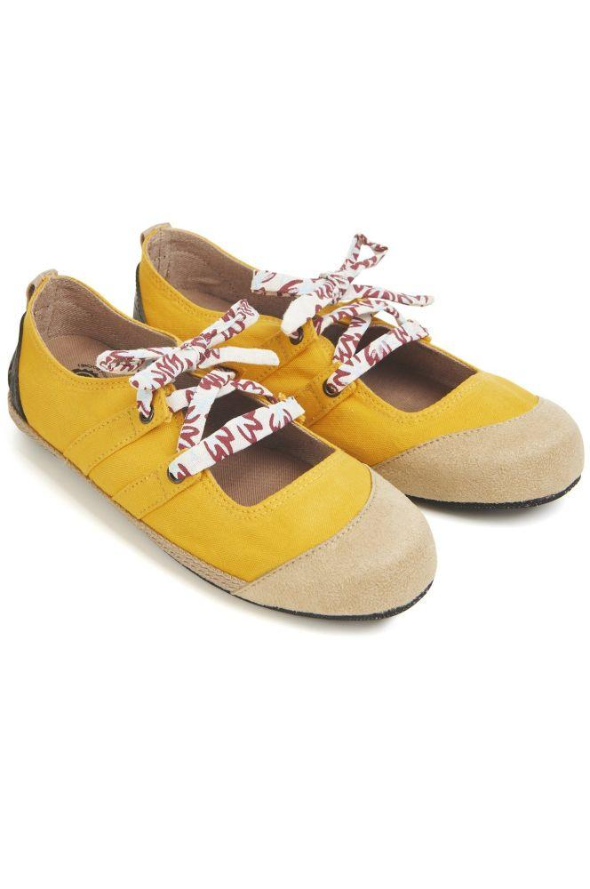 Spandau Ballet Yellow Flat Shoes-Komodo-MAMOQ