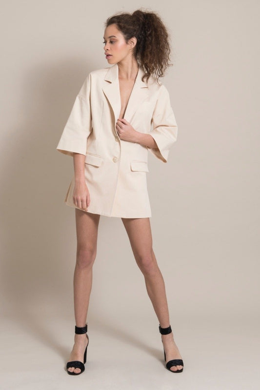 Sustainable Cream Cotton Long Blazer-blonde gone rogue-MAMOQ