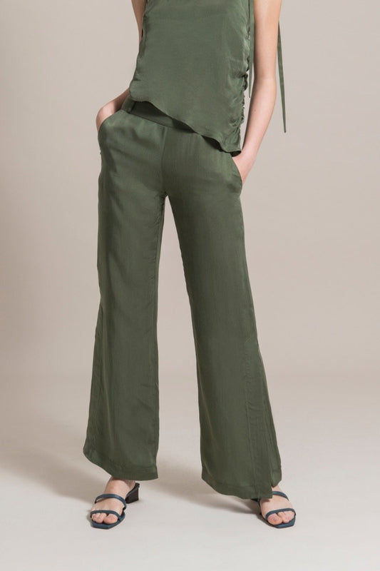 Sustainable Green Cupro Flared Trousers-blonde gone rogue-MAMOQ