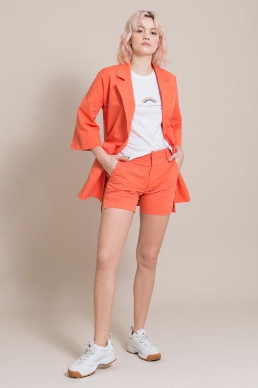 Sustainable Orange Cotton Long Blazer-blonde gone rogue-MAMOQ