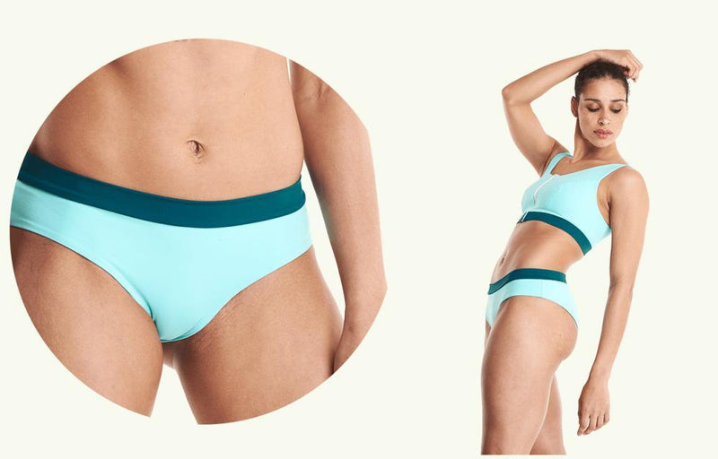 Swimcrop Bikini Top Mint Blue & Teal - Hepburn-Deakin and Blue-MAMOQ