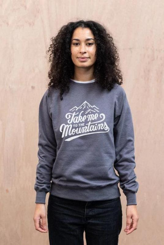 Take Me To The Mountains Grey Organic Cotton Sweater-The Level Collective-MAMOQ