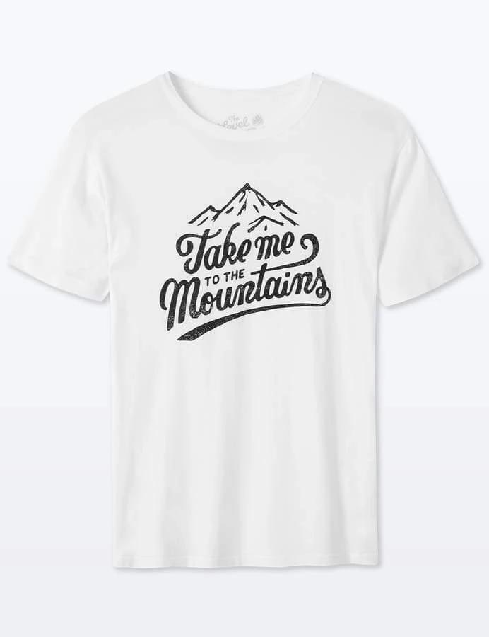 Take Me To The Mountains White Organic Cotton T-Shirt-The Level Collective-MAMOQ