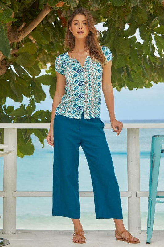 Teal Linen Cropped Trousers-Aspiga-MAMOQ