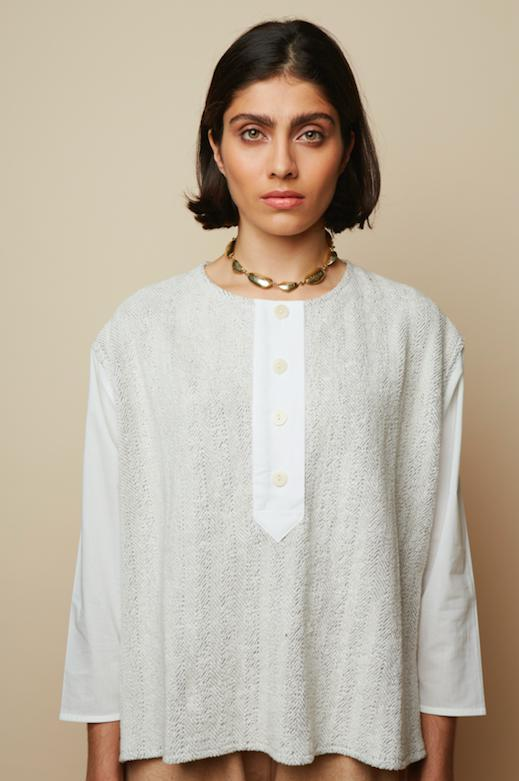 Terry Herringbone White Meadow Organic Sweat Blouse-Sweatshirt-Rakha-MAMOQ