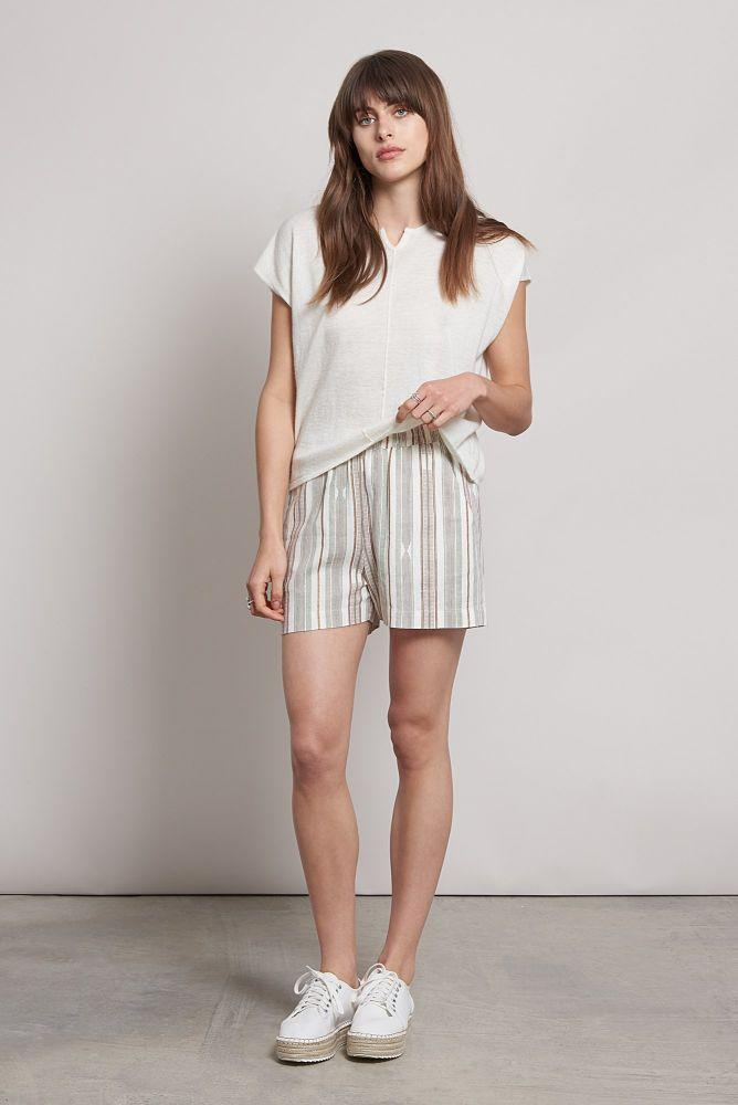 Thana Striped Organic Linen Shorts-Komodo-MAMOQ