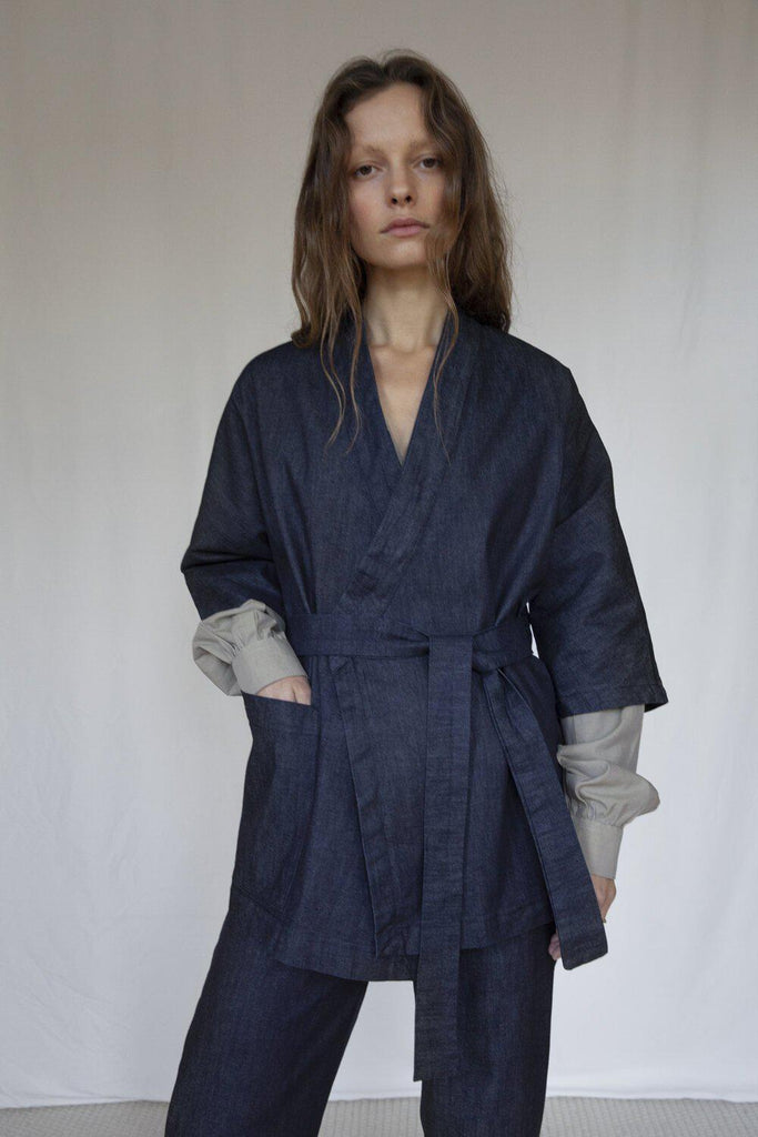 """The Marshes"" Dark Blue Organic Cotton Denim Jacket-Vanesa Vinhas-MAMOQ"