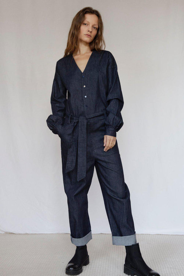 """The Marshes"" Dark Blue Organic Cotton Denim Jumpsuit-Vanesa Vinhas-MAMOQ"