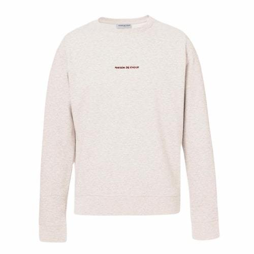 The Red Embroidered Logo Sweatshirt - Cream Heather Grey-Maison de Choup-MAMOQ