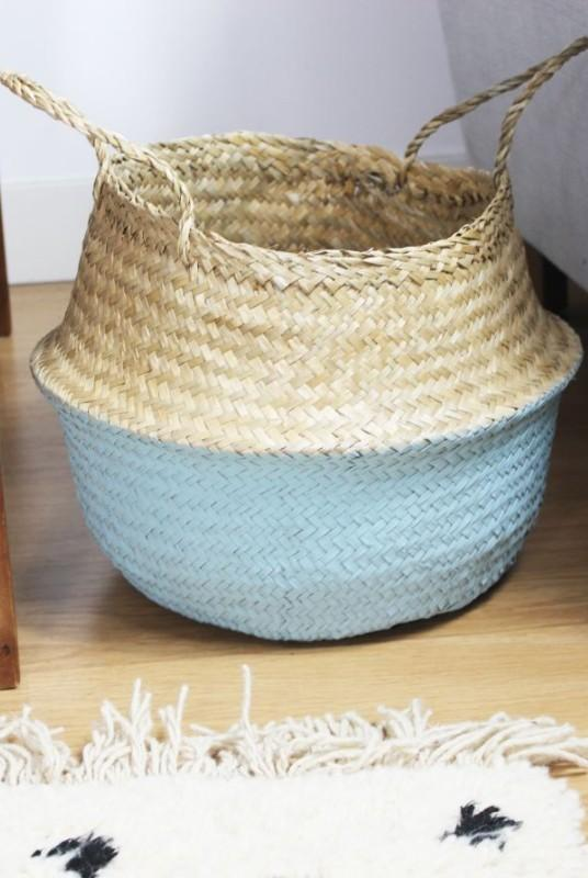 Thien Beige and Blue Seagrass Collapsible Basket-Harfi-MAMOQ
