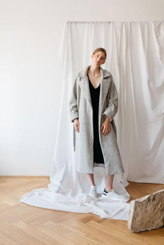 Think Big Grey Organic Wool Oversized Coat-ADVA-MAMOQ