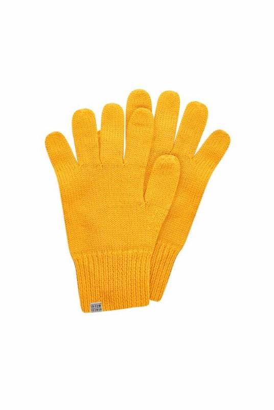 Torn Marigold Yellow Merino Wool Gloves-Komodo-MAMOQ