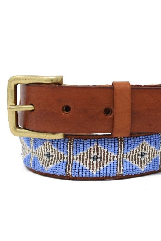 Triangle Lilac Beaded Leather Belt-Aspiga-MAMOQ