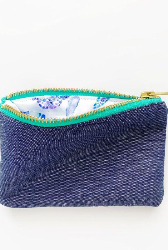 Turtle Collection Navy Linen Purse-Eliza Eliza-MAMOQ