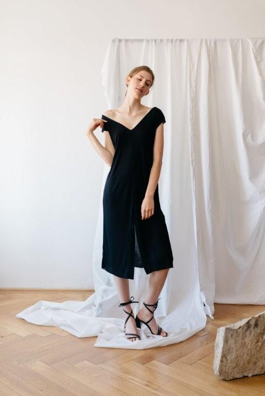 Up To You Black Tencel Off The Shoulder Dress-ADVA-MAMOQ