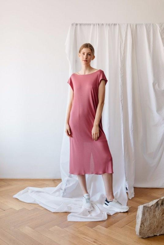 Up To You Pink Tencel Off The Shoulder Dress-ADVA-MAMOQ