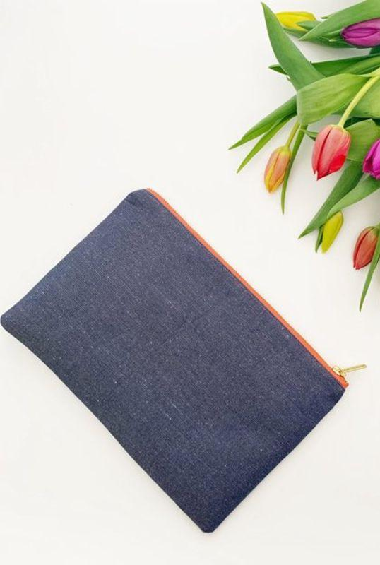 V Collection Navy Linen Clutch Bag-Eliza Eliza-MAMOQ