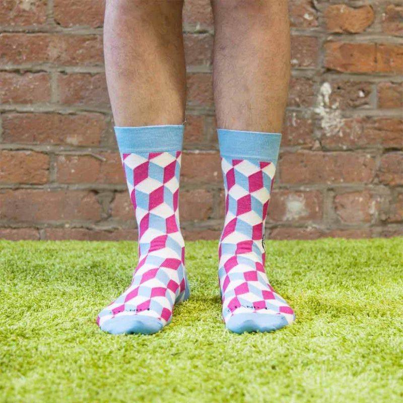 Vaccination Blue & Pink Sock-Stand4 Socks-MAMOQ