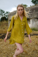 Valeria Green Shirt Dress-Rakha-MAMOQ