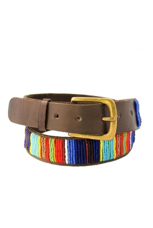 Vertical Full Stripe Beaded Leather Belt-Aspiga-MAMOQ