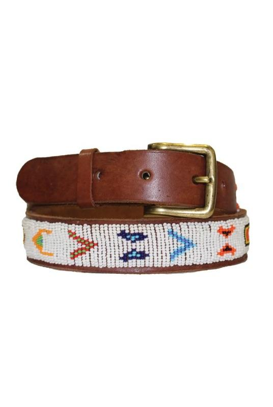 Village White/Multi Beaded Leather Belt-Aspiga-MAMOQ