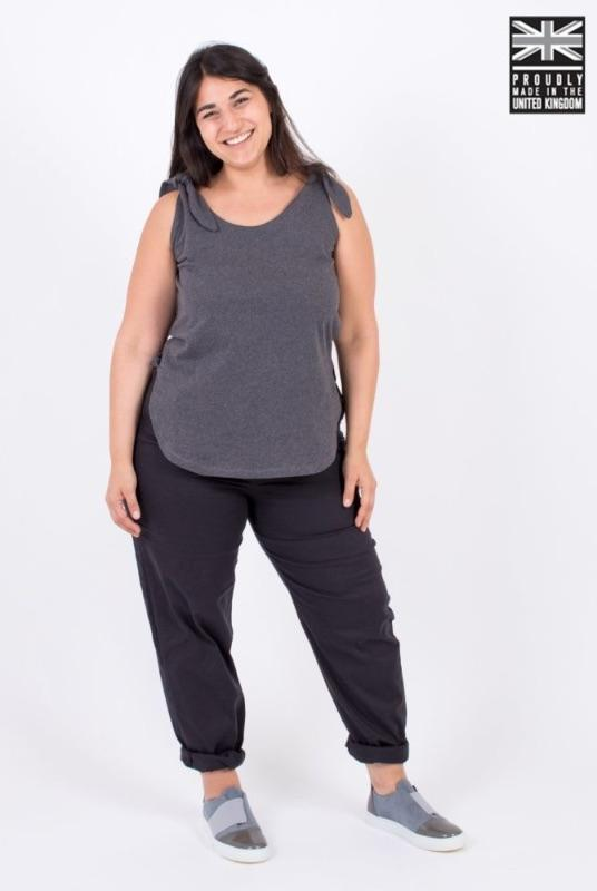 Wear Me in Six Ways Dark Grey Organic Cotton Tie Top-Zola Amour-MAMOQ