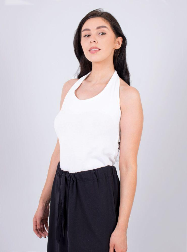 Wear Me in Six Ways White Organic Cotton Tie Top-Zola Amour-MAMOQ