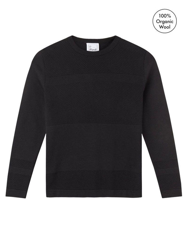 Wex Sailor Black Merino Wool Sweater-Le Pirol-MAMOQ