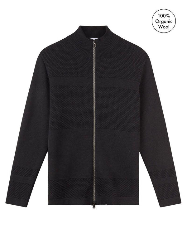 Wex Sailor Black Merino Wool Zip Cardigan-Le Pirol-MAMOQ