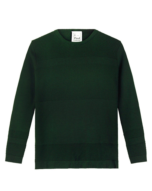 Wex Sailor Dark Green Wool Sweater-Cardigan-Le Pirol-MAMOQ