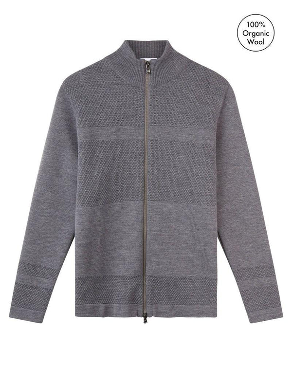 Wex Sailor Grey Merino Wool Zip Cardigan-Le Pirol-MAMOQ