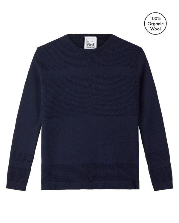 Wex Sailor Navy Merino Wool Sweater-Le Pirol-MAMOQ
