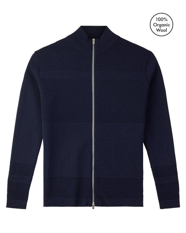 Wex Sailor Navy Merino Wool Zip Cardigan-Le Pirol-MAMOQ